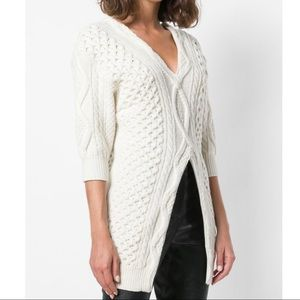 3.1 Phillip Lim Split-Front Cable Knit Sweater